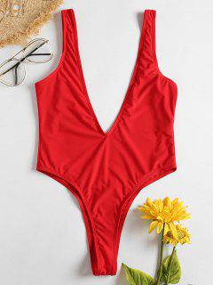 Plunge Low Back Thong Swimsuit - Love Red S