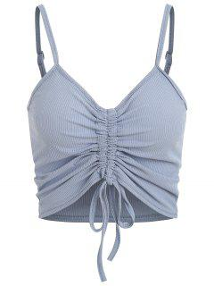 Drawstring Ruched Crop Cami Top - Light Blue M