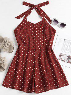 Buttoned Polka Dot Romper - Red Wine M