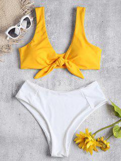 Two Tone Tied High Waisted Bikini Set - Bee Yellow M
