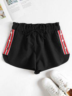 Striped Patched Buttons Shorts - Black M