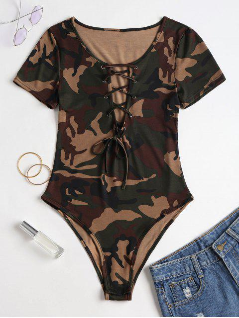 Body à Imprimé Camouflage avec Laçage - Camouflage des Bois M Mobile