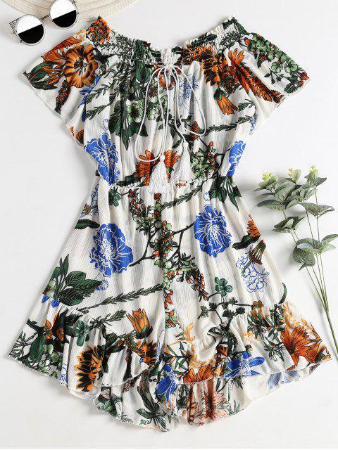 Smocked Floral Breezy Romper - Blanco Única Talla Mobile