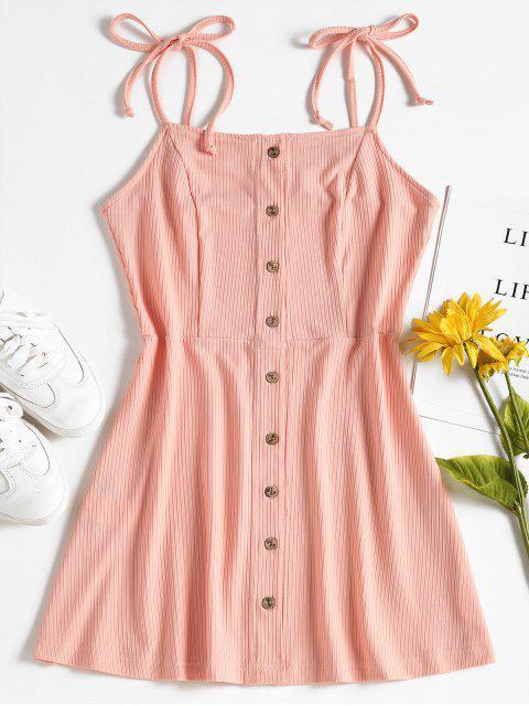 Geripptes Knopf Oben Mini Kleid - Neblige Rose L Mobile