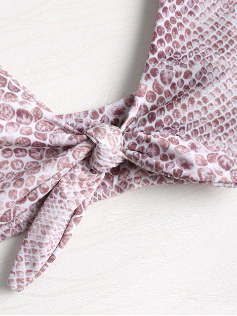 sale Front Tied Gemstone Print Bikini Set - MULTI L Mobile