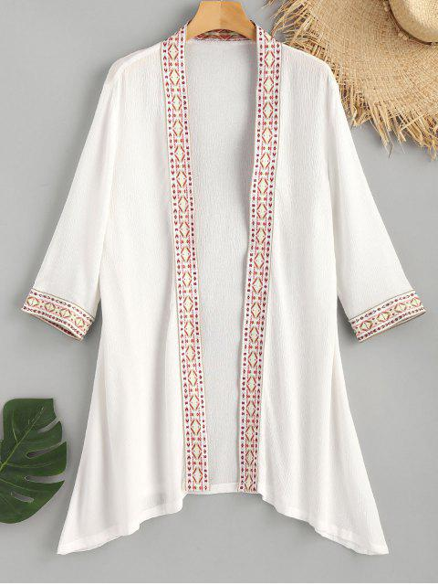 hot Embroidered Beach Kimono - WHITE M Mobile