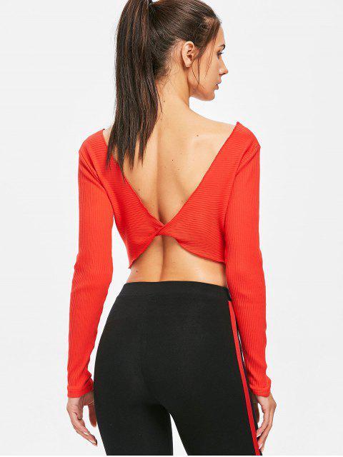 fancy Long Sleeve Ribbed Twist Reversible Crop Top - RED L Mobile