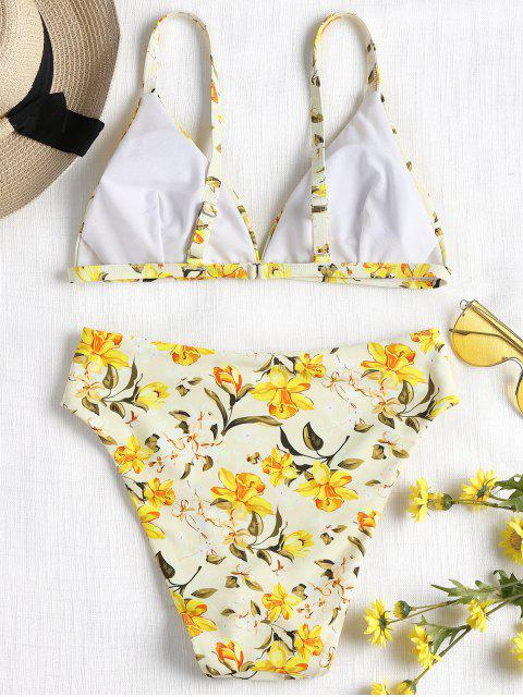 ladies High Cut Floral Bikini - YELLOW L Mobile