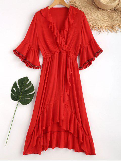 women's Ruffles Asymmetric Maxi Beach Dress - LOVE RED M Mobile