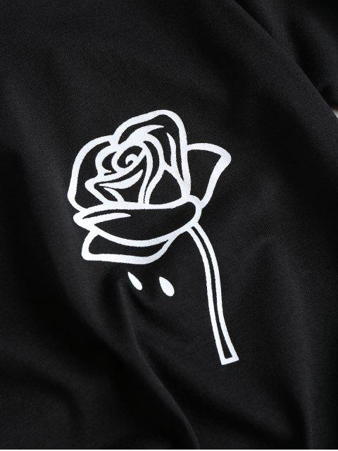 latest Rose Print Graphic Tee - BLACK L Mobile