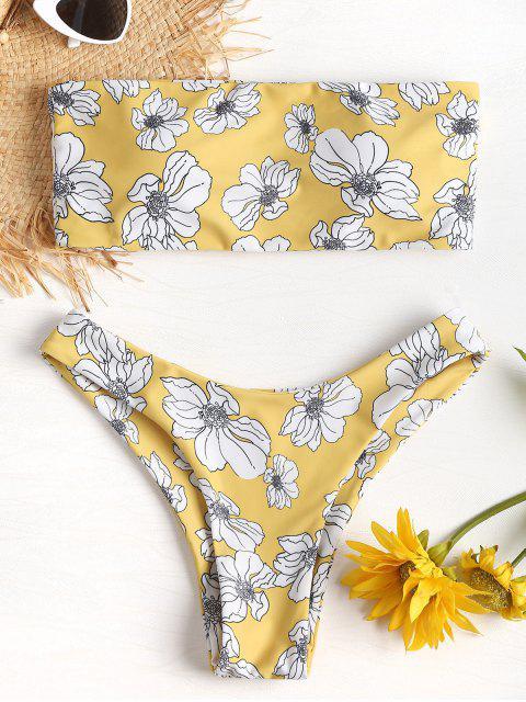 Bikini Bandeau en Ensemble Floral à Jambes Hautes - Brun Doré L Mobile
