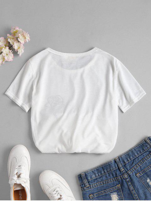 T-shirt à Imprimé Rose - Blanc XL Mobile