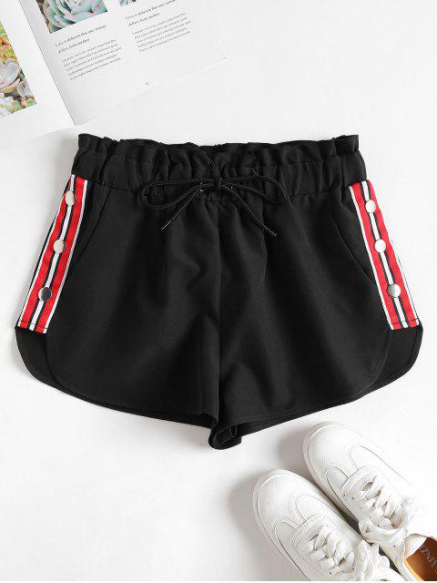 shop Striped Patched Buttons Shorts - BLACK L Mobile