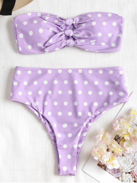 Bikini Taille Haute à Pois et à Nœud - Mauve L Mobile