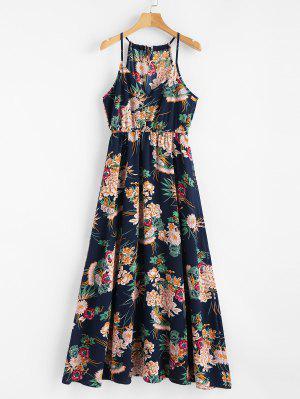 Keyhole Floral Maxi Dress - Cadetblue - Cadetblue Xl