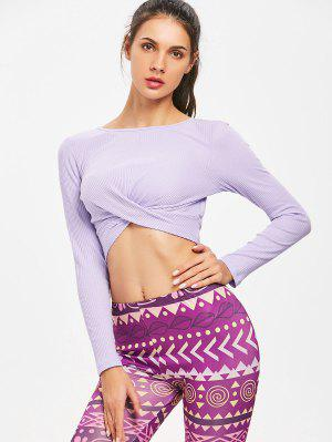 Twisted Langarm Geripptes Crop Top