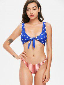 8f17ffaf155 71% OFF   HOT  2019 Tie Front American Flag Bikini Set In SAPPHIRE ...