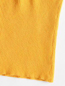 Sin M Volantes Cami Brillante Con Mangas Amarillo Top Acanalado 8wqZ8dx1