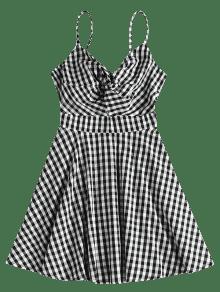 Gingham Twist Negro Vestido Cami S 4HzWqPPZ