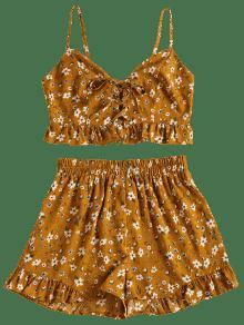 Florales Anaranjado Corto M Conjunto De Oro Cordones AX8xKwa