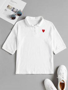 الهراء القلب مطرزة قميص بولو - أبيض