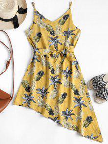 فستان استوائي طباعة غير متناظرة - الأصفر M