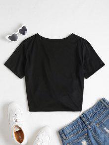 L De Estampado Camiseta Con Rosas Negro qHXx6wg