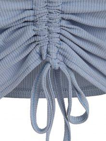 Crop Azul Cami Crop Claro Drawstring Top L fqUPv5