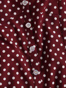 Vestido Lunares Vino M Media Botones Y Con A Pierna Tinto qqwC1Z