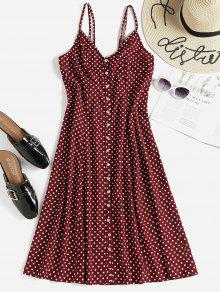 Polka Dot Button Up Midi Slip Dress