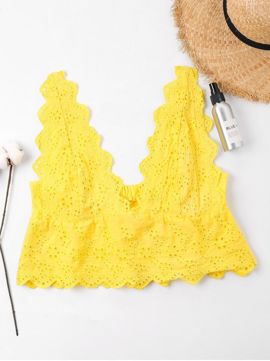 fashion Eyelet Crop Tank Top - RUBBER DUCKY YELLOW XL