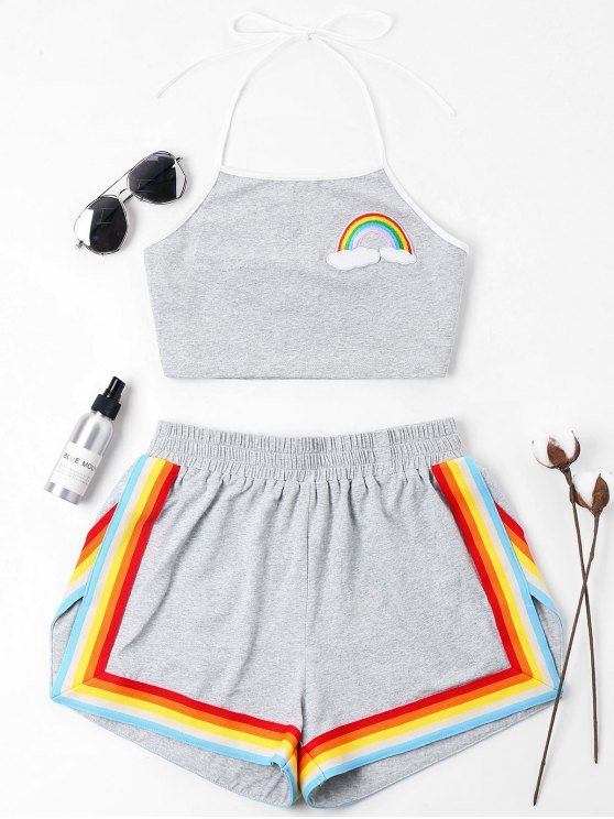 sale Rainbow Patched Halter Shorts Set - GRAY XL
