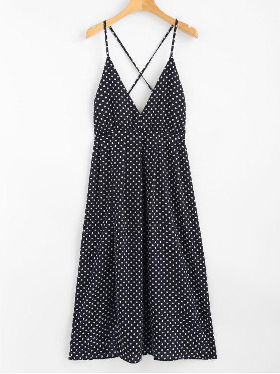Bolinhas Halter Midi Slip Sun Dress - Azul Escuro L