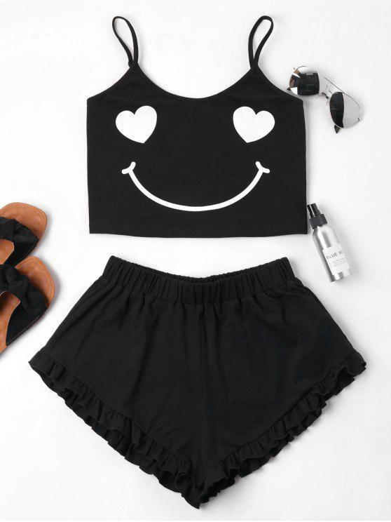 ladies Smile Print Cami Shorts Set - BLACK XL
