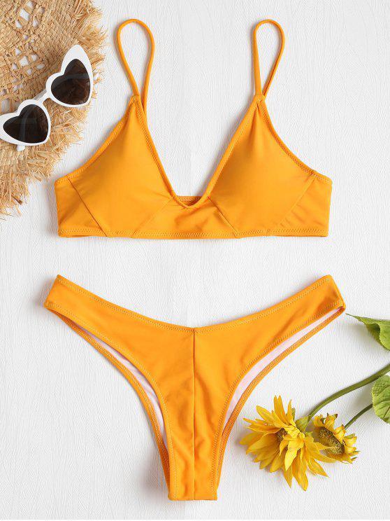 Bikini de pierna alta estructurado - Amarillo Brillante L