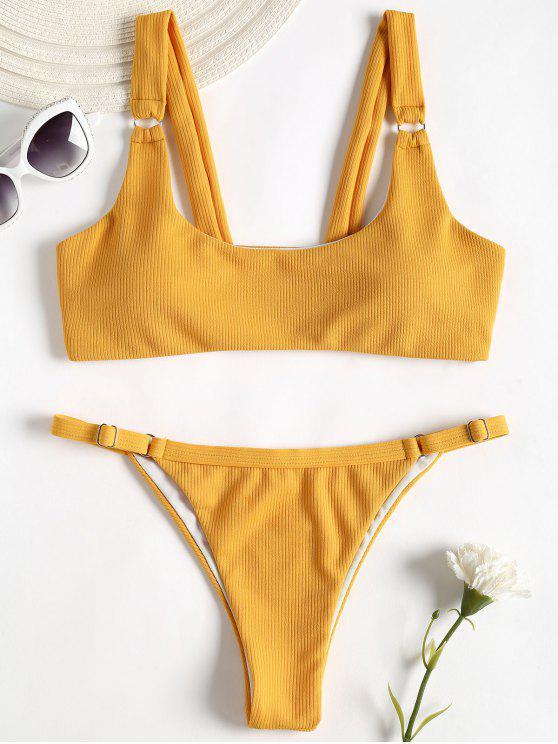 Gerippter Textur Tanga Bikini - Goldgelb S