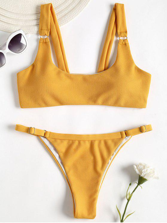 women Ribbed Texture Thong Bikini - GOLDEN BROWN M