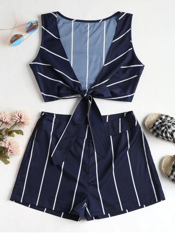 women Striped Tie Front Top and Shorts Set - MIDNIGHT BLUE M