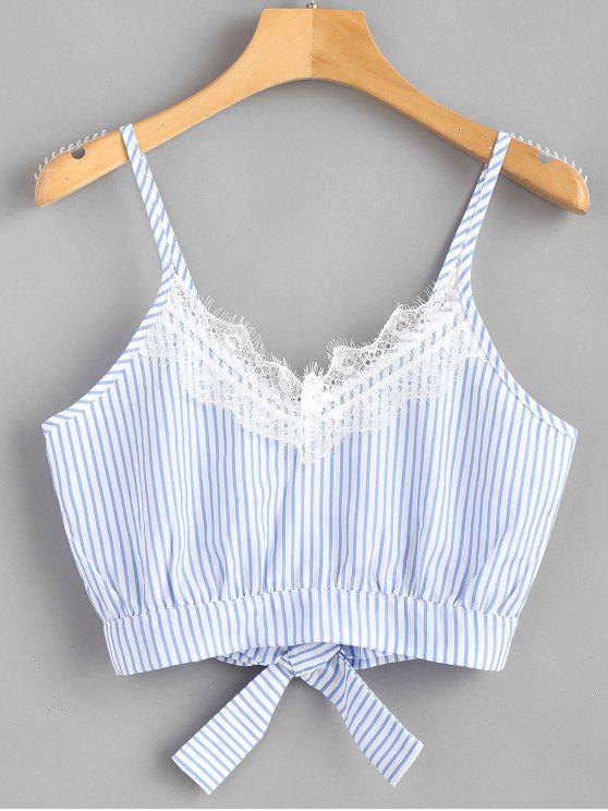 outfit Striped Lace Trim Crop Cami Top - LIGHT SKY BLUE S