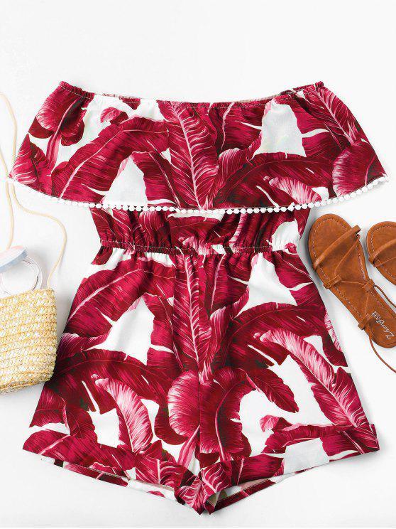 outfit Off Shoulder Tropical Leaf Romper - RED L