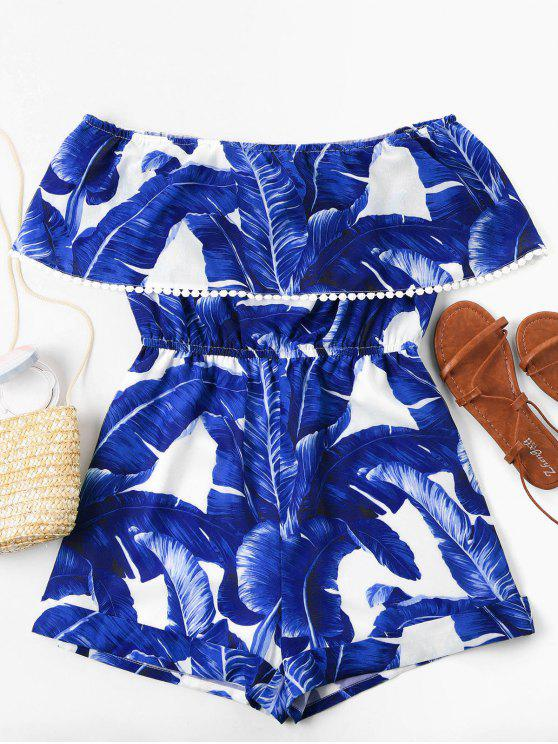 shop Off Shoulder Tropical Leaf Romper - BLUE S