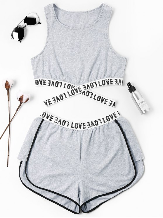 outfit Letter Patched Crossover Shorts Set - GRAY XL