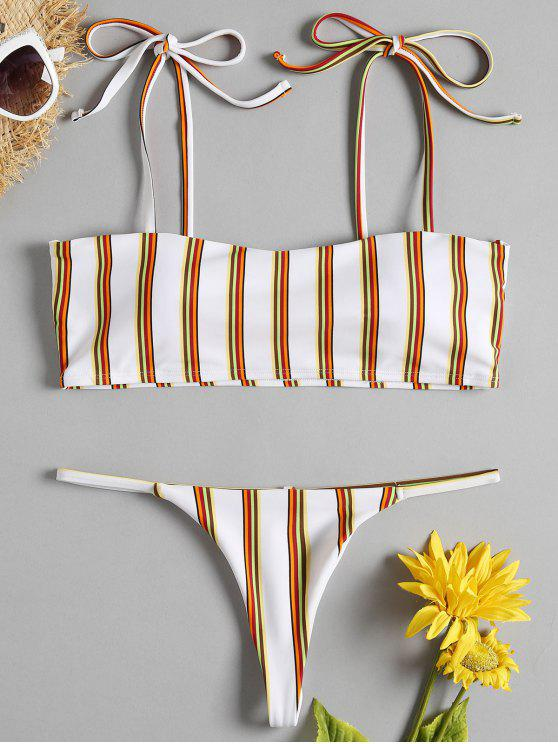 trendy Striped Tie Shoulder G-String Bikini - WHITE S