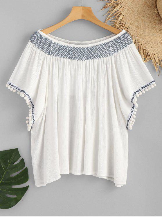best Pom Poms Slash Neck Smocked Beach Top - WHITE M