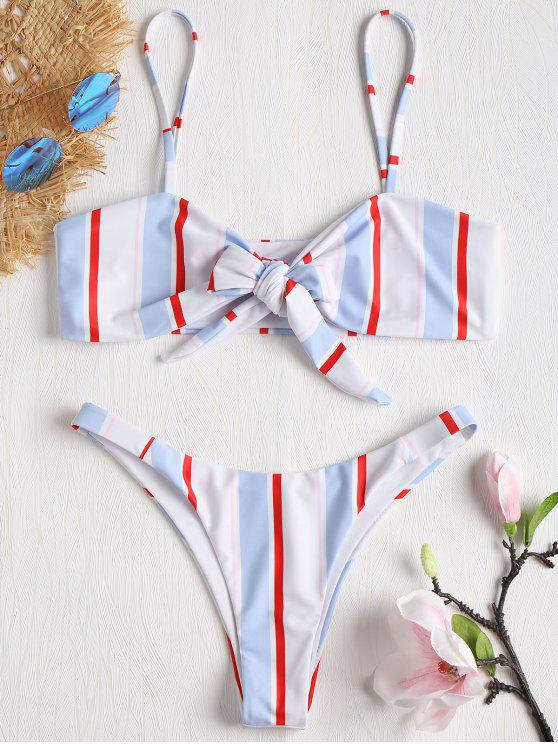 hot Striped Tie Front Bikini Set - MULTI-J M