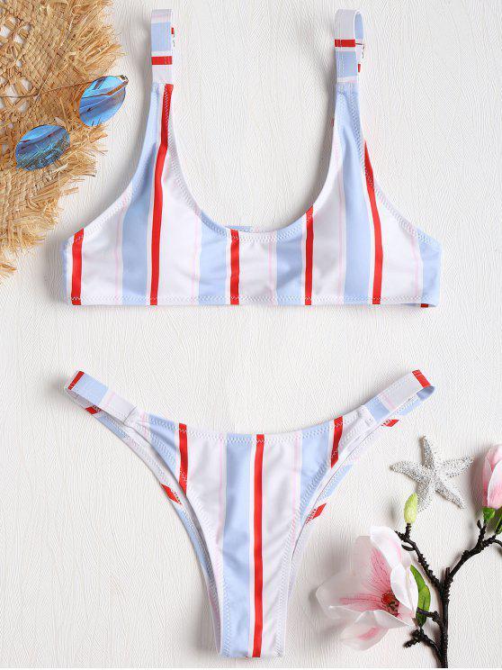 online Striped Caged Bralette Bikini Set - MULTI-J L