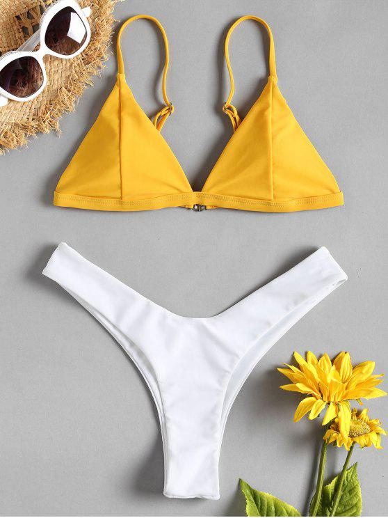 chic Two Tone High Leg Bikini Set - RUBBER DUCKY YELLOW M