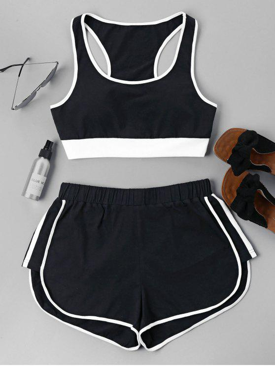 unique Contrast Sleeveless Shorts Set - BLACK XL