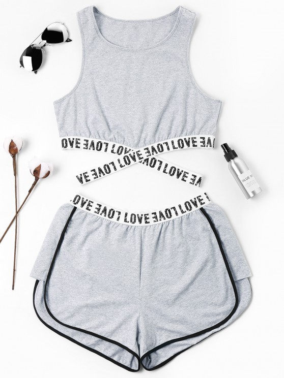 new Letter Patched Crossover Shorts Set - GRAY M