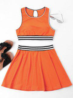 Stripes Sleeveless Skirt Set - Tangerine L
